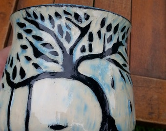 Beautiful Sgraffito Carved Pottery Cup with Tree and Swing