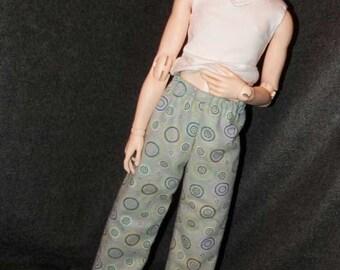 Navy Circles on Gray Flannel Lounge/PJ Pants
