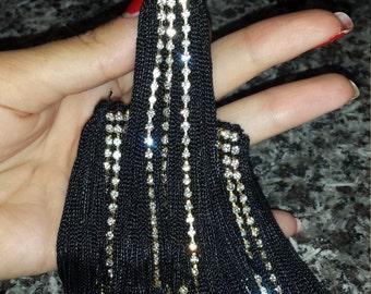 Earring handmade with fringe and chain swarovski
