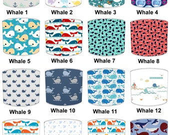 Whale Print Lamp shades, To Fit Either a Table Lamp base or a Ceiling Light Fitting.