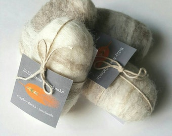 Wool Felted Soap Lavender Soap 4 oz. Bar  (natural, un-dyed wool)
