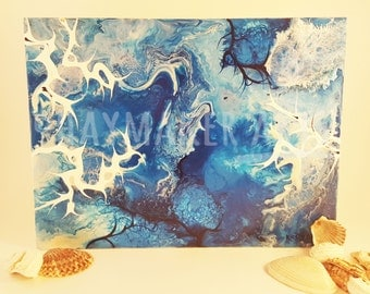 """Fluid acrylic abstract art painting """"Ocean and Space"""""""