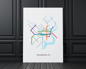 Philadelphia Wall Art, Philadelphia Map, Philadelphia, PA, Wall Art, Map Art,Map Print,City Print,City Decor, Digital Print