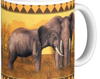 Elephant Mug In Oranges and browns African Savanna scene