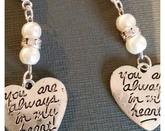 "Two Wedding Bride Bridegroom Pocket Charm and Bouquet or Garter Charms Silver ""Always in my heart"") charms ivory pearls and gift bags (two)"