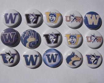 University of Washington Huskies Buttons Set of 15