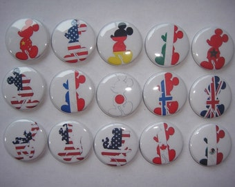 Mickey Mouse Flags Buttons Set of 15