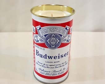 Scented Beer Soy Candle - Upcycled Budweiser 12 oz Beer Cans