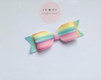 Rainbow bow ,Rainbow glitter,glitter bow, rainbow, headband,clip,bobble,hair accessory