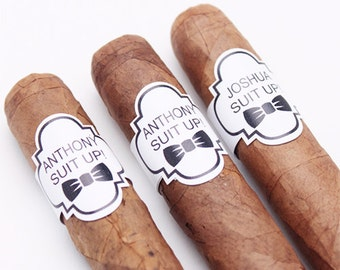 8 pcs Suit Up! Personalized Cigar Band Stickers (PPD-JM57620)
