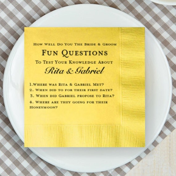 Bride And Groom Questionnaire: 100 Pcs Fun Questions About Bride And Groom Personalized