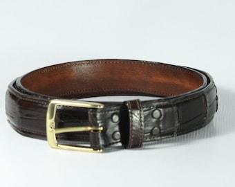 Chocolate Brown Genuine alligator skin belts
