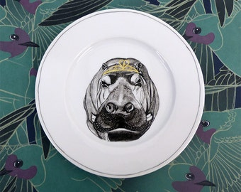 Hand painted porcelain collection plate  - Hippo