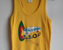 Vw camper van westfalia furgoneta t-shirt top camiseta maglietta surf reggae vintage t shirt hand painted 100% cotton