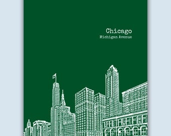 Chicago Print, Chicago Wall Art, Chicago Skyline, Wedding Gift, Chicago Art Print, Chicago Illinois Art, Chicago Poster, Chicago Decor