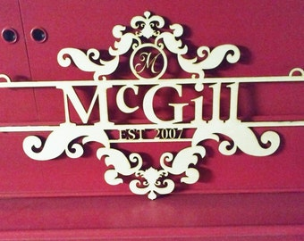 Custom Family Name Wood Sign With Established Date - Laser Cut - Door hanging or wall hanging