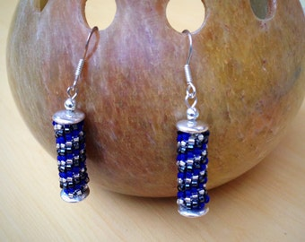 Blue Peyote Stitch Bead and Silver Earrings