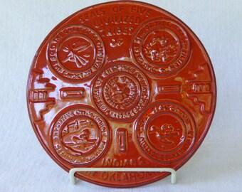 Frankoma Pottery Glazed Stoneware Trivet, Seals of Five Civilized Tribes