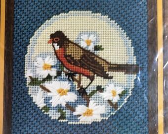 """Jiffy Needlepoint * Robin and Apple Blossoms Needlepoint Stitching- 100% Pure Wool 6.5"""" x 6.5"""""""