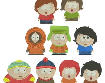 Southpark Embroidery Designs, Kenny, Kyle, Stanley, Eric, 5 girl