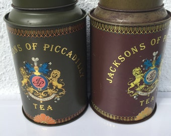 Free Shipping - Vintage Tea Tins Jacksons of Piccadilly Collectibles- A Set of Two
