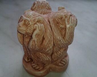 Three monkeys in a single statuette. Year of the monkey Table figure