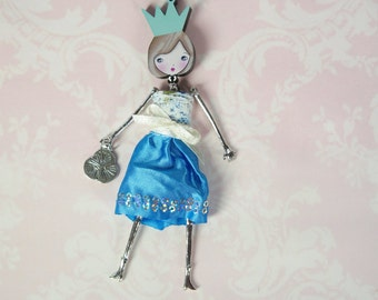 French doll pendant, doll necklace, Flowers, little girl pendant, Girl teen gift, blue metal necklace,