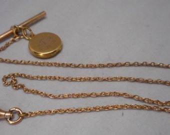 Antique Victorian Gold Filled Pocket Watch Chain Fob with Locket