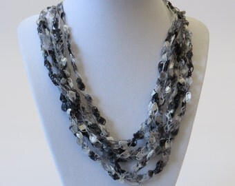 Six strand crochet necklace
