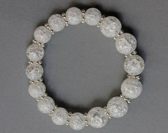 """12mm natural rock crystal,woman""""s bracelet,great gift.semi-precious stones.birthday gift."""