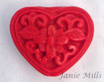 Cinnabar Carved Heart Lacquer ware