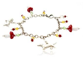 Silver bracelet dachshunds and mushroom glass beads