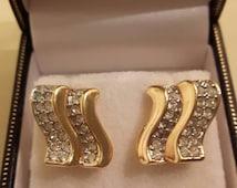Swarovski cluster earrings for pierced ears - swan logo
