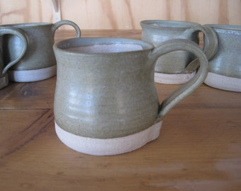 pair of  stoneware blue-green/white pottery mugs - multi-use