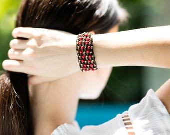 Beaded bracelet- Red Gold beads Bracelet mesh- Womens  bracelet-  B59