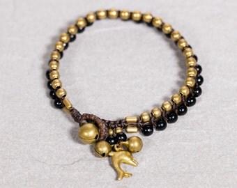 Beaded Bracelet- Black Onyx Brass Beaded Bracelet- Dolphin Charm Bracelet- B-29