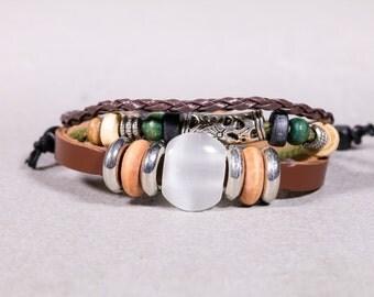 Leather White  Agate Bead Bracelet-Leather And Tibetan Tube Bead Bracelet- LB24