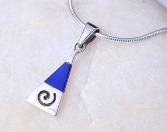Silver And Royal Blue Stone Pendant, Sterling Silver Charm, Silver Gifts, Triangle Marble Necklace, Minimalist Jewelry, Necklace. (P33/3)