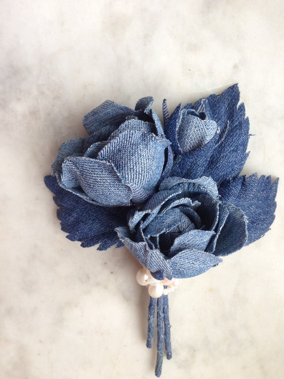 Denim rose brooch denim wedding roses denim flowers brooch