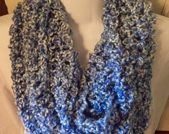Light blue super soft, crochet infinity scarf