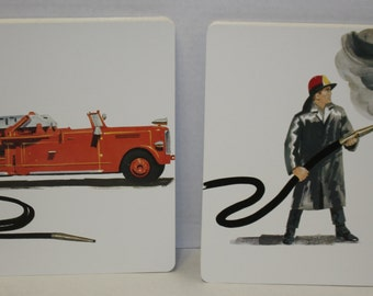 Vintage Large Flash Cards - Set of 2 - Retro Fireman and Fire Truck Print - Retro Journal or Smash book covers - 1968