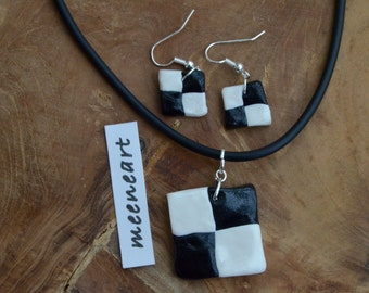 """Polymer clay jewelry set """"Checkerboard"""" Earrings/Necklace"""