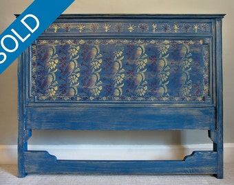 Mahogany Victorian Headboard - Blue Bird Collection - Sold