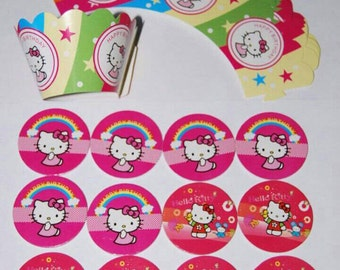 Hello Kitty 12 cupcake wrappers and 12 toppers 24 pieces