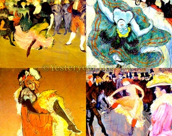 TOULOUSE-LATREC (1864-1901) Art - Printable Digital Images - Collage Sheets - Instant Download - 3 PNG Files 4x4. 2x2. 1x1