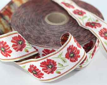 35 mm Red vintage floral jacquard trim (1.37 inches) -  Vintage Jacquard - Floral ribbon - Floral trim - vintage jacquard - vintage ribbons