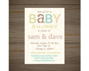 Gender nuetral baby shower invitation