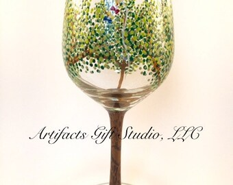 Summer Tree Wine Glass