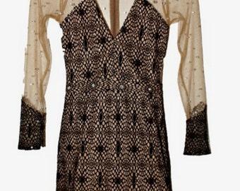 Rhinestone Mesh Lace Dress