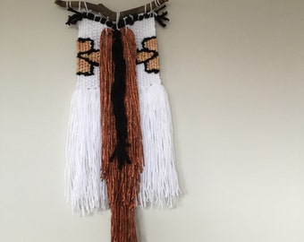 Fringed handwoven wall hanging tapestry - JulesMitchellStudio - small - Azel